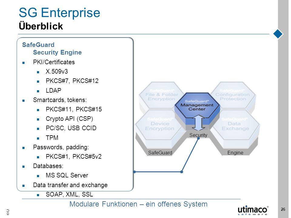Utimaco Safeware AG, 2007 26 EngineSafeGuard Security SG Enterprise Überblick SafeGuard Security Engine PKI/Certificates X.509v3 PKCS#7, PKCS#12 LDAP