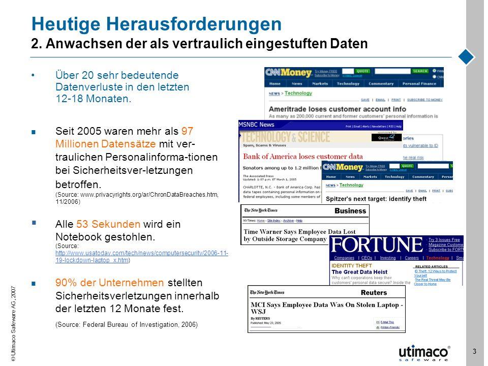 Utimaco Safeware AG, 2007 3 Heutige Herausforderungen 2. Anwachsen der als vertraulich eingestuften Daten Über 20 sehr bedeutende Datenverluste in den