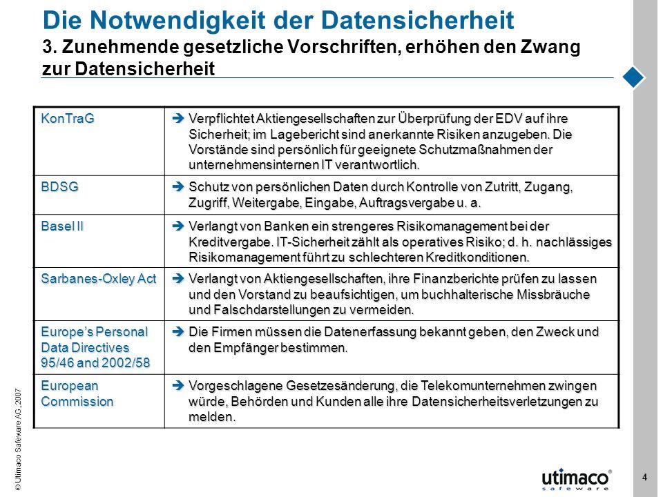 Utimaco Safeware AG, 2007 5 Über Utimaco Unser Business Fürmittelständische und große Organisationen mit der Zielsetzungder Absicherung von vertraulichen Informationen gegen Angriffe und Erfüllung des Datenschutzgesetzes.