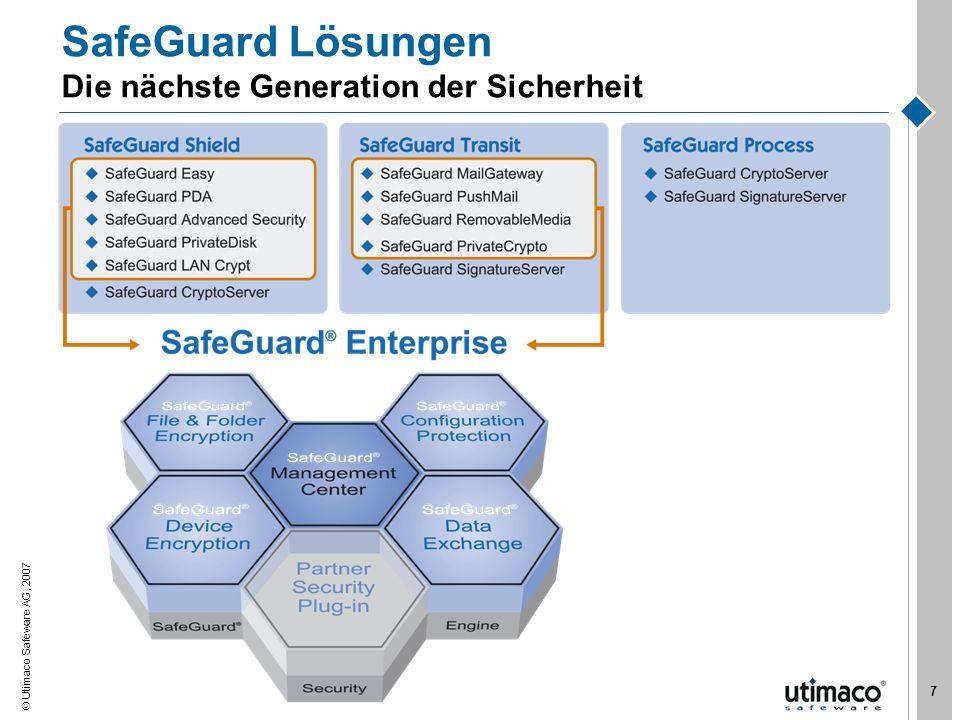 Utimaco Safeware AG, 2007 7 SafeGuard Lösungen Die nächste Generation der Sicherheit