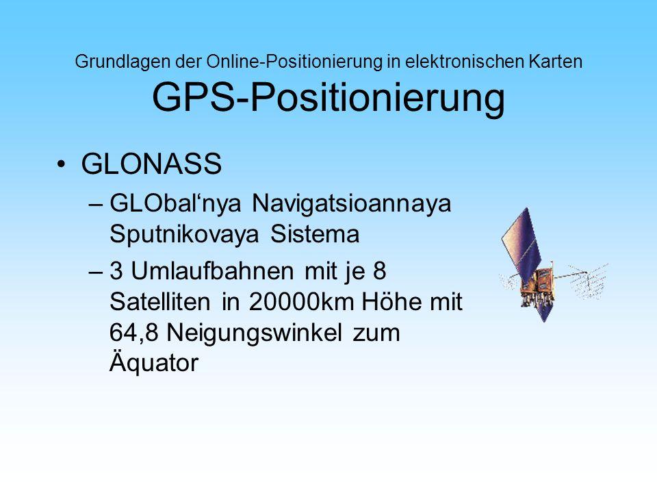 Grundlagen der Online-Positionierung in elektronischen Karten GPS-Positionierung GLONASS –GLObalnya Navigatsioannaya Sputnikovaya Sistema –3 Umlaufbah