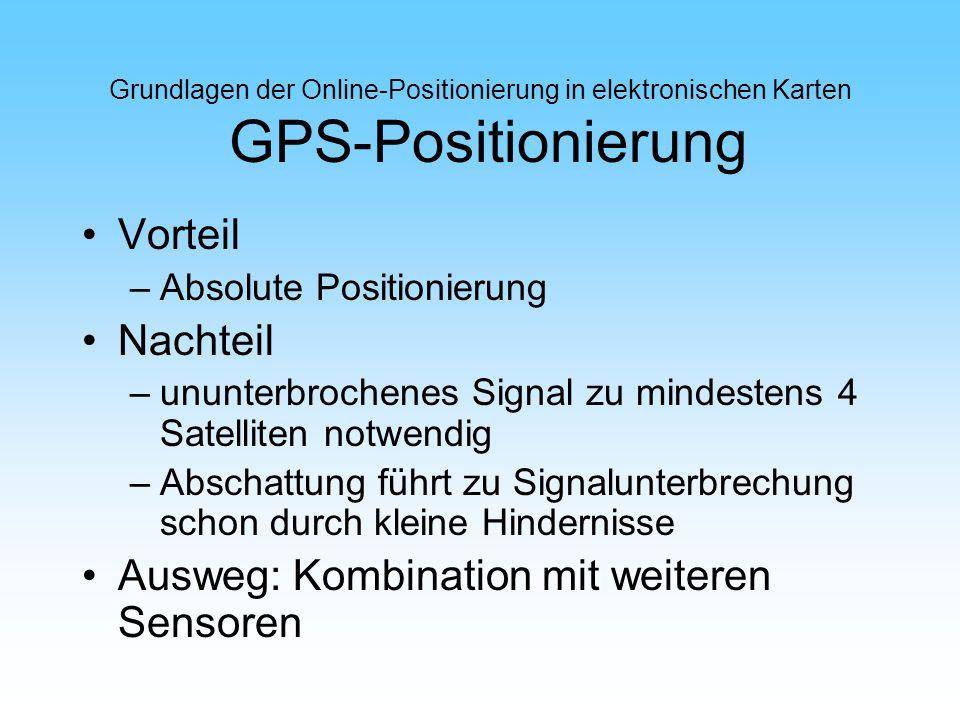 Grundlagen der Online-Positionierung in elektronischen Karten GPS-Positionierung Vorteil –Absolute Positionierung Nachteil –ununterbrochenes Signal zu