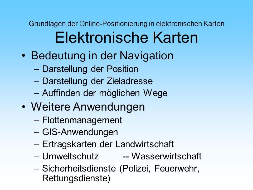 Grundlagen der Online-Positionierung in elektronischen Karten Elektronische Karten Bedeutung in der Navigation –Darstellung der Position –Darstellung