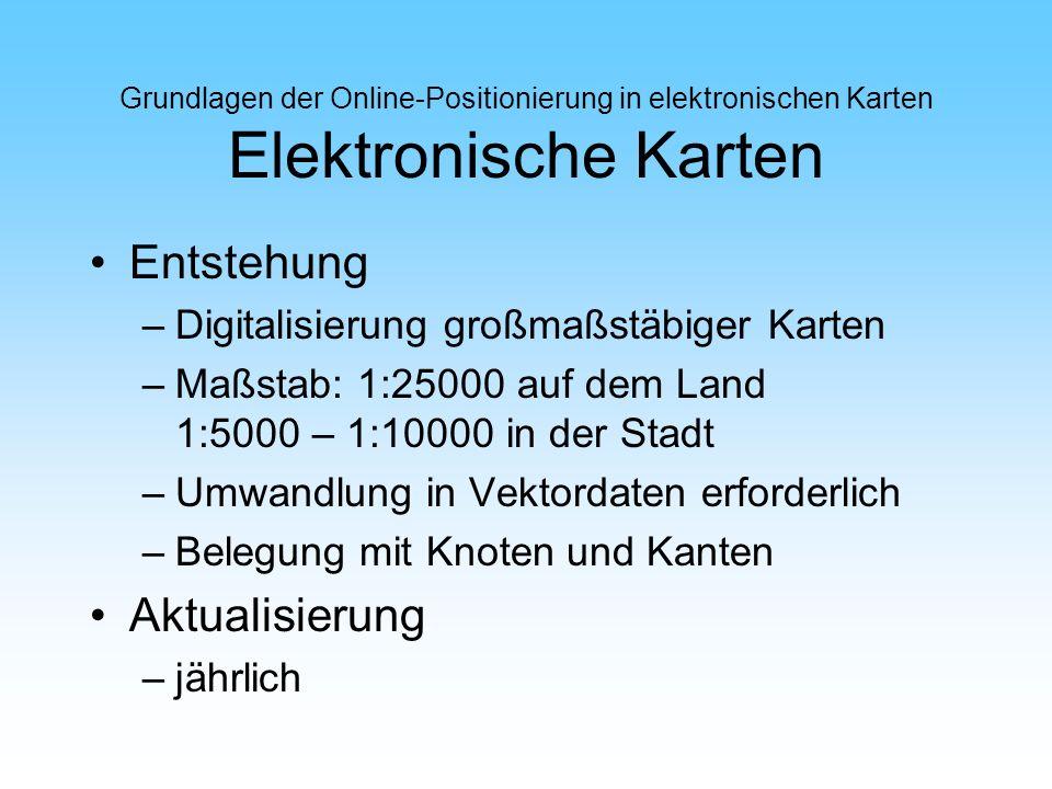 Grundlagen der Online-Positionierung in elektronischen Karten Elektronische Karten Entstehung –Digitalisierung großmaßstäbiger Karten –Maßstab: 1:2500