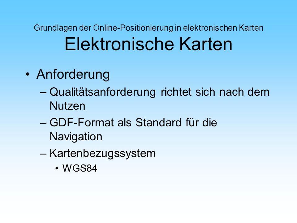 Grundlagen der Online-Positionierung in elektronischen Karten Elektronische Karten Anforderung –Qualitätsanforderung richtet sich nach dem Nutzen –GDF
