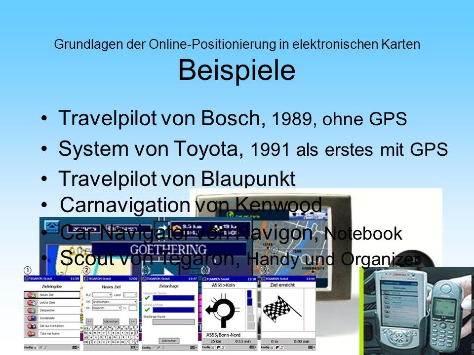 Grundlagen der Online-Positionierung in elektronischen Karten Beispiele Travelpilot von Bosch, 1989, ohne GPS System von Toyota, 1991 als erstes mit G