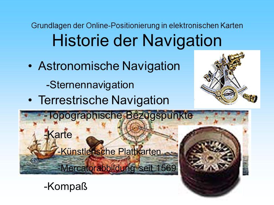 Grundlagen der Online-Positionierung in elektronischen Karten Historie der Navigation Astronomische Navigation Terrestrische Navigation -Topographisch