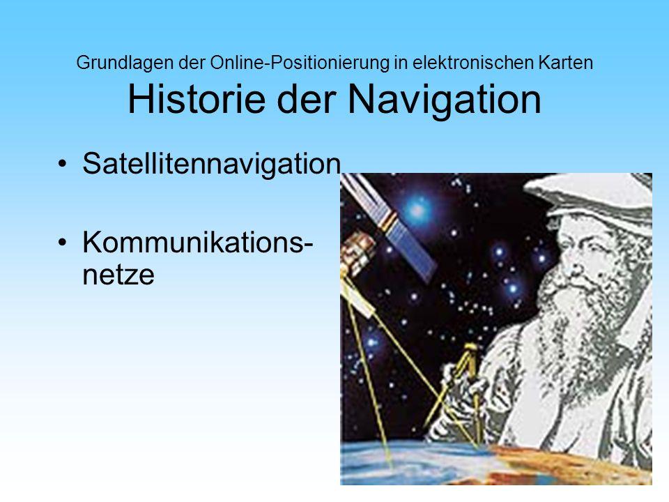 Grundlagen der Online-Positionierung in elektronischen Karten Historie der Navigation Satellitennavigation Kommunikations- netze