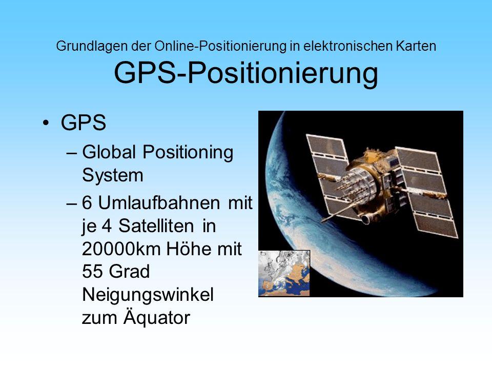 Grundlagen der Online-Positionierung in elektronischen Karten GPS-Positionierung GPS –Global Positioning System –6 Umlaufbahnen mit je 4 Satelliten in