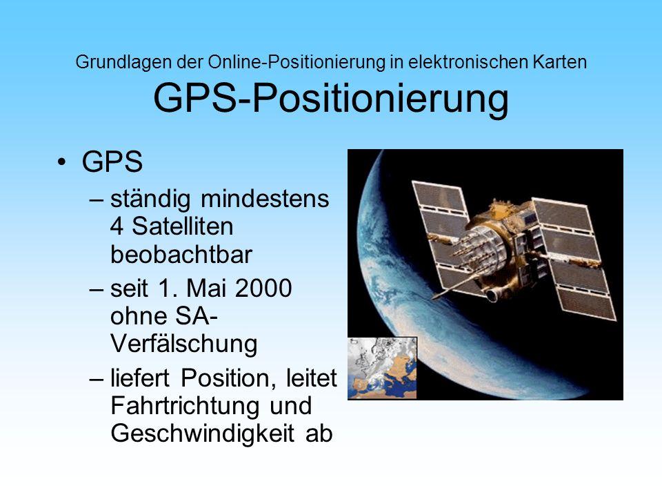 Grundlagen der Online-Positionierung in elektronischen Karten GPS-Positionierung GPS –ständig mindestens 4 Satelliten beobachtbar –seit 1. Mai 2000 oh