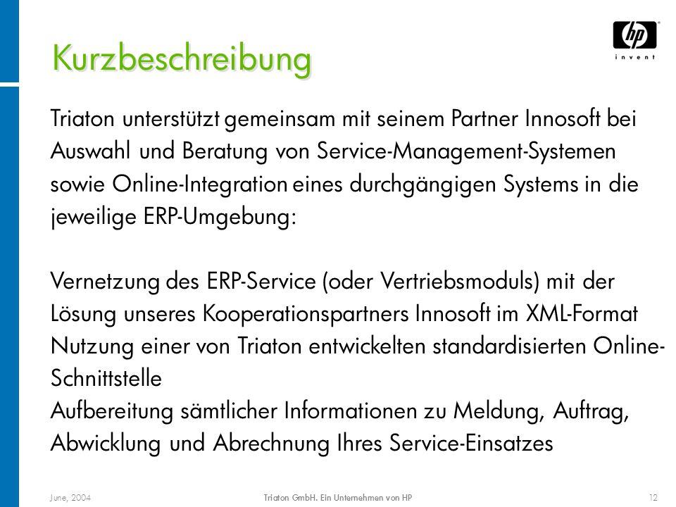 June, 2004Triaton GmbH. Ein Unternehmen von HP12 Triaton unterstützt gemeinsam mit seinem Partner Innosoft bei Auswahl und Beratung von Service-Manage