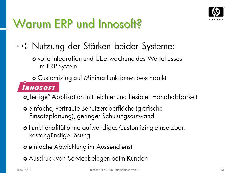 June, 2004Triaton GmbH. Ein Unternehmen von HP13 Warum ERP und Innosoft? Nutzung der Stärken beider Systeme: ò volle Integration und Überwachung des W