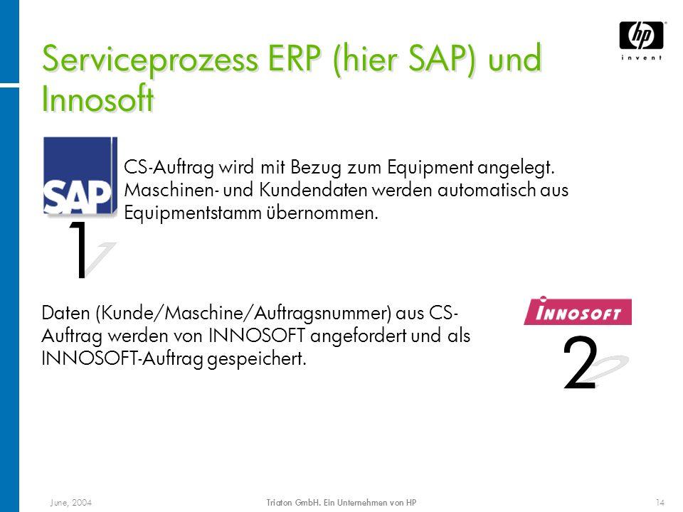 June, 2004Triaton GmbH. Ein Unternehmen von HP14 Serviceprozess ERP (hier SAP) und Innosoft CS-Auftrag wird mit Bezug zum Equipment angelegt. Maschine