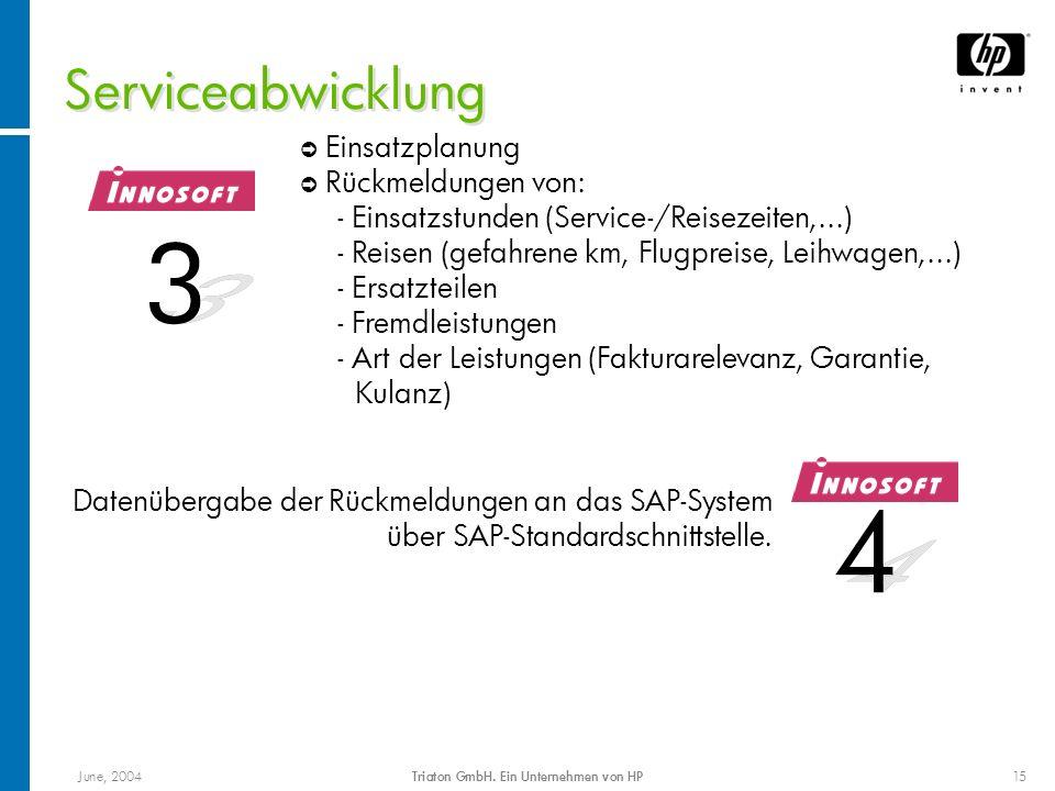 June, 2004Triaton GmbH. Ein Unternehmen von HP15 Serviceabwicklung Datenübergabe der Rückmeldungen an das SAP-System über SAP-Standardschnittstelle. E