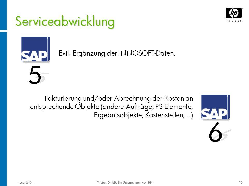 June, 2004Triaton GmbH. Ein Unternehmen von HP16 Serviceabwicklung Evtl. Ergänzung der INNOSOFT-Daten. Fakturierung und/oder Abrechnung der Kosten an