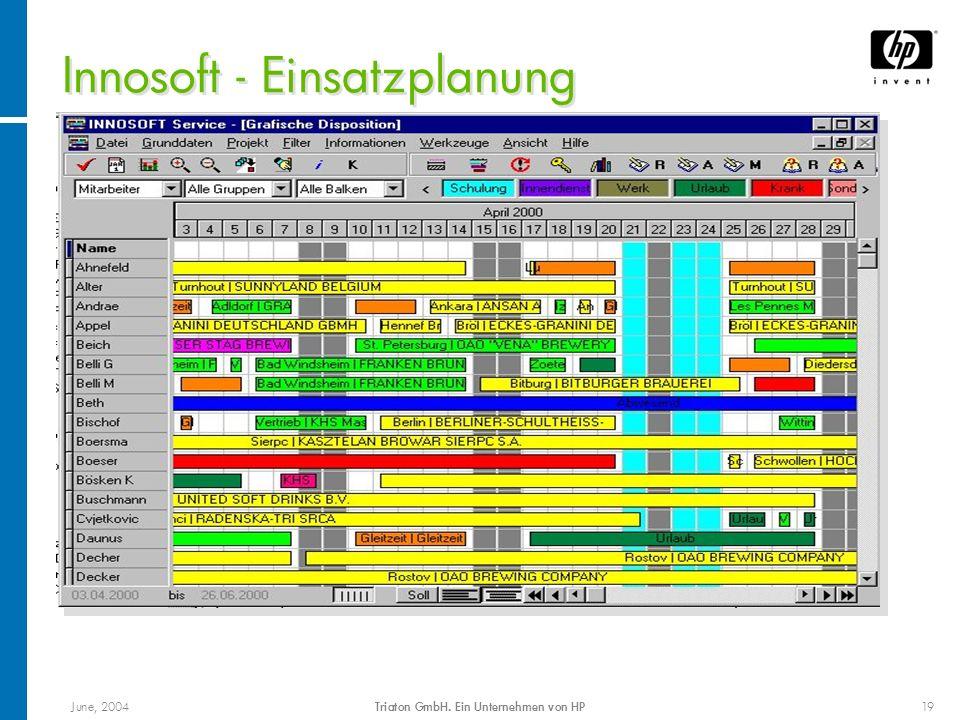 June, 2004Triaton GmbH. Ein Unternehmen von HP19 Innosoft - Einsatzplanung