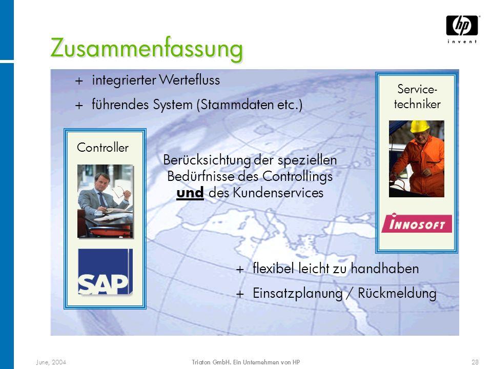 June, 2004Triaton GmbH. Ein Unternehmen von HP28 Zusammenfassung Controller Service- techniker + flexibel leicht zu handhaben + Einsatzplanung / Rückm