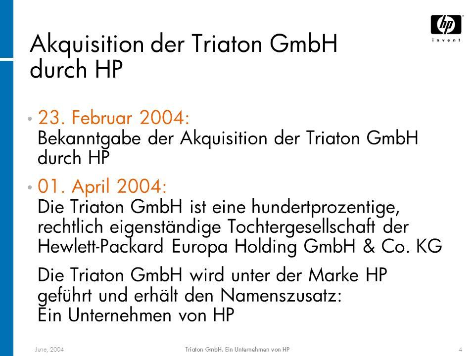 June, 2004Triaton GmbH. Ein Unternehmen von HP4 Akquisition der Triaton GmbH durch HP 23. Februar 2004: Bekanntgabe der Akquisition der Triaton GmbH d