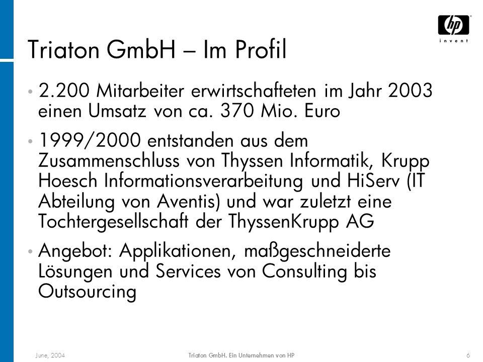 June, 2004Triaton GmbH. Ein Unternehmen von HP6 Triaton GmbH – Im Profil 2.200 Mitarbeiter erwirtschafteten im Jahr 2003 einen Umsatz von ca. 370 Mio.