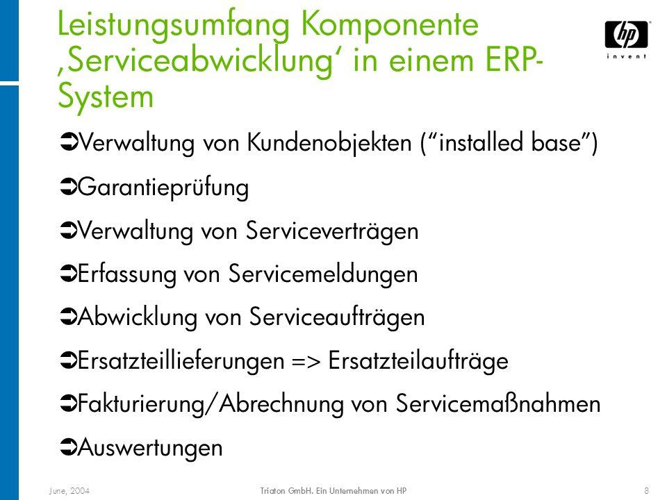 June, 2004Triaton GmbH. Ein Unternehmen von HP8 Leistungsumfang Komponente Serviceabwicklung in einem ERP- System Verwaltung von Kundenobjekten (insta