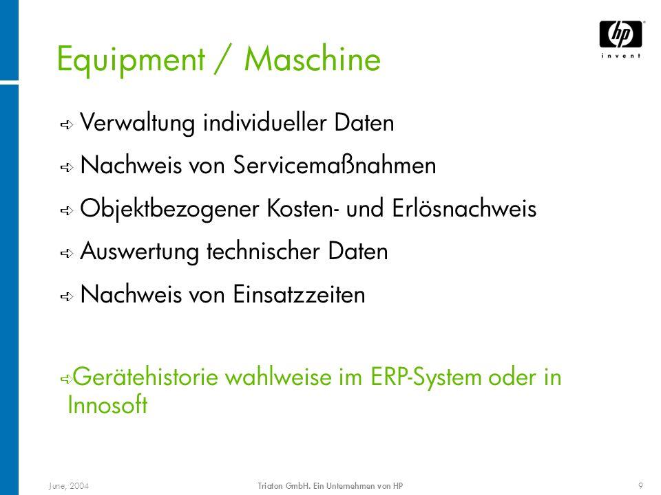 June, 2004Triaton GmbH. Ein Unternehmen von HP9 Equipment / Maschine Verwaltung individueller Daten ê Nachweis von Servicemaßnahmen ê Objektbezogener