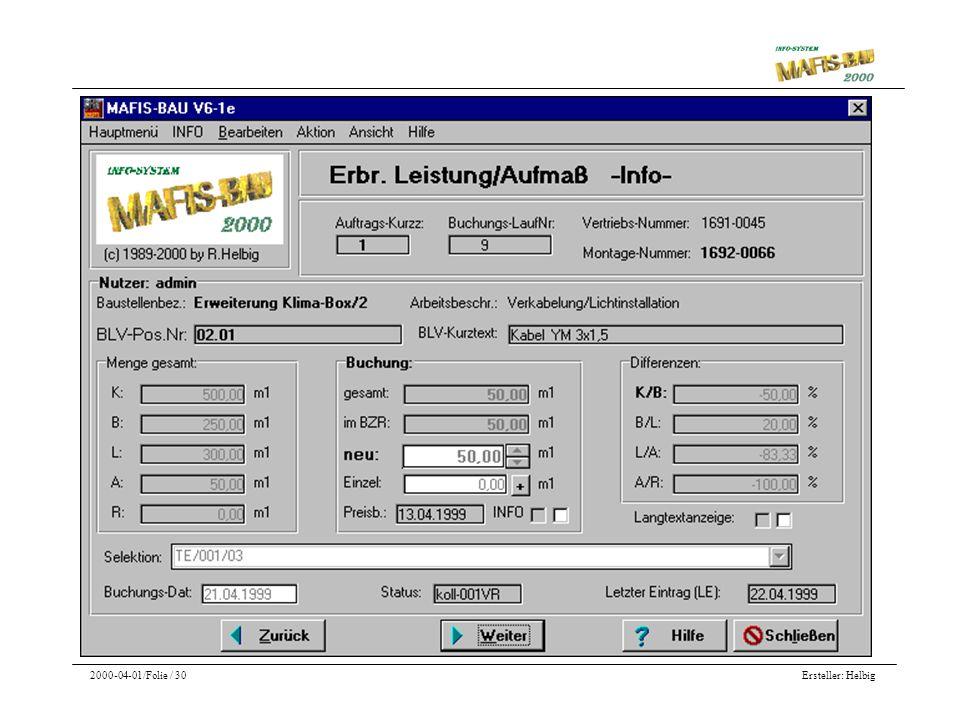 Ersteller: Helbig2000-04-01/Folie / 30