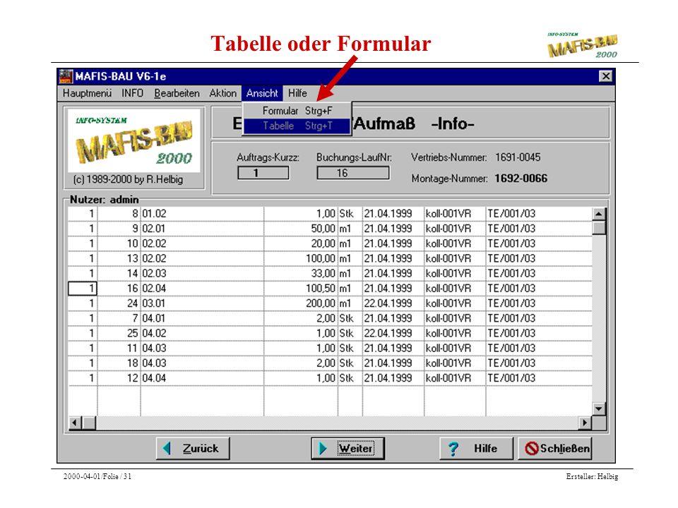 Ersteller: Helbig2000-04-01/Folie / 31 Tabelle oder Formular