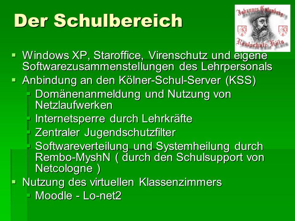 Der Schulbereich Windows XP, Staroffice, Virenschutz und eigene Softwarezusammenstellungen des Lehrpersonals Windows XP, Staroffice, Virenschutz und e