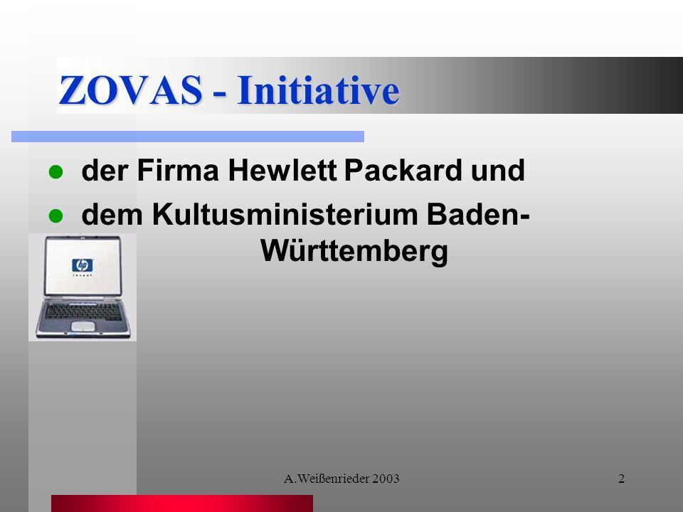 A.Weißenrieder 20032 ZOVAS - Initiative der Firma Hewlett Packard und dem Kultusministerium Baden- Württemberg