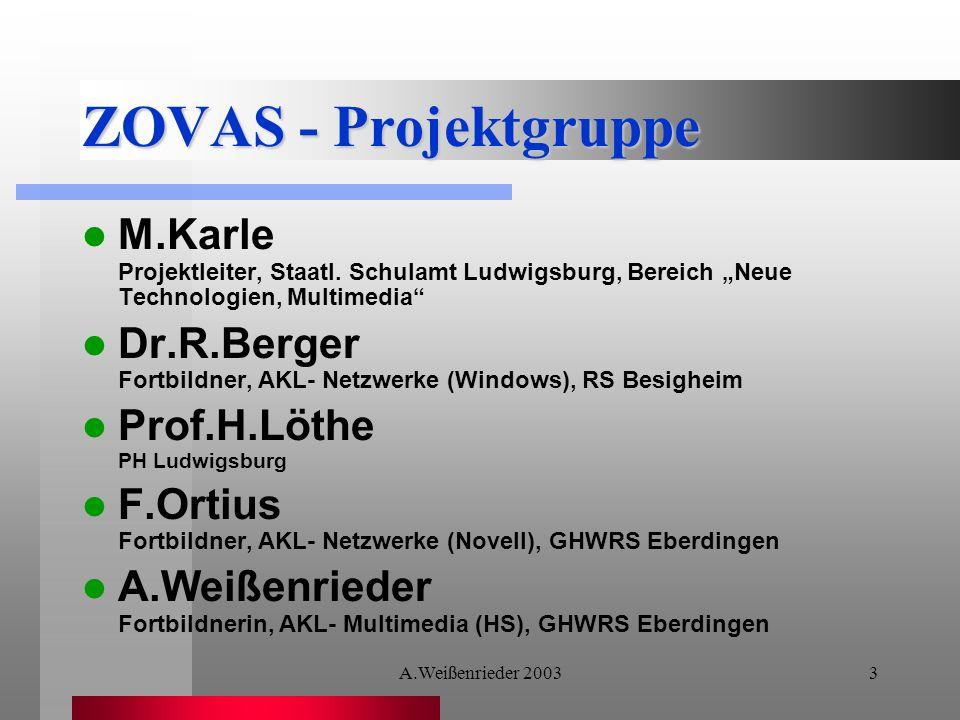 A.Weißenrieder 20033 ZOVAS - Projektgruppe M.Karle Projektleiter, Staatl.