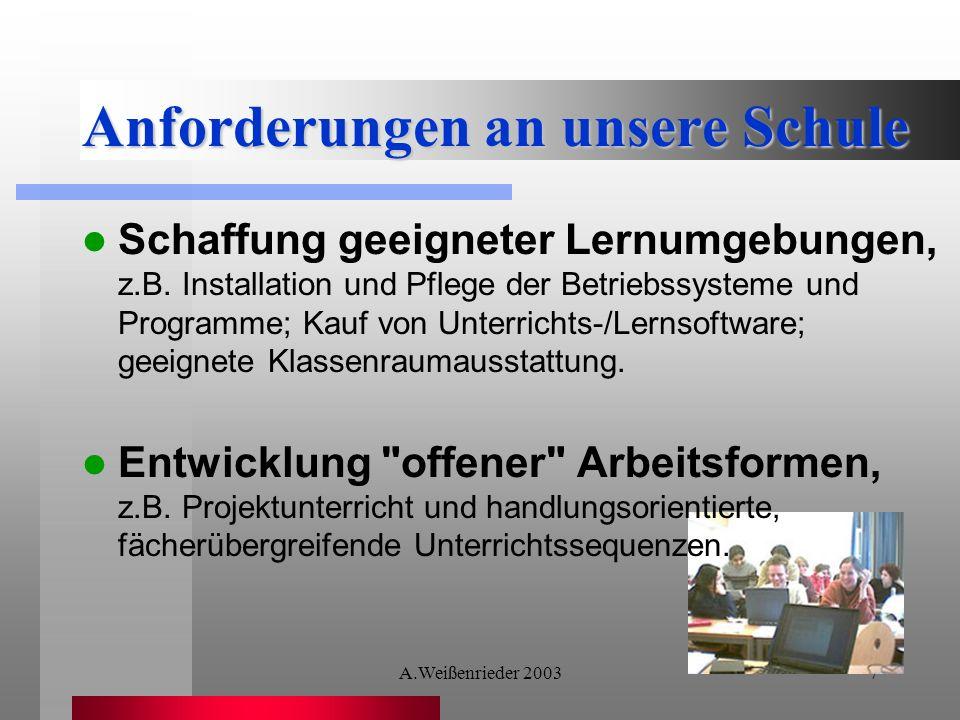 A.Weißenrieder 20037 Anforderungen an unsere Schule Schaffung geeigneter Lernumgebungen, z.B.