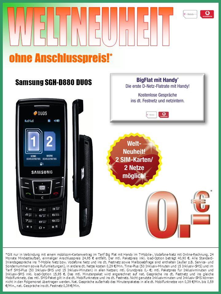 ohne Anschlusspreis!* Sony Ericsson K770i + Keypix Digitaler Schlüsselanhänger *Gilt nur in Verbindung mit einem mobilcom-Kartenvertrag im Tarif Time-Basic (30 Inklusiv-Minuten) und im Tarif SMS-Basic (30 Inklusiv-SMS) in den angegebenen Netzen; mtl.