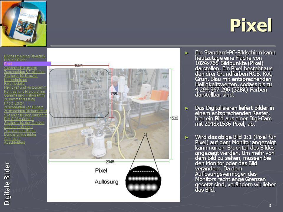 Bildbearbeitung Überblick Digitale Bilder Pixel Skalieren Bildschirm Zuschneiden & Freistellen Skalieren für Drucker Komprimieren Farbmodelle Helligkeit und Histogramm Kontrast und Histogramm Gamma und Histogramm Zusammenfassung Photo Editor Zuschneiden von Bildern Zuschneiden Bildausschnitt Skalieren für den Bildschirm Bild Größe ändern Skalieren für den Drucker Auflösung ändern Transparente Bilder Durchsichtige Bilder Animation Abschlußtest 3 Pixel Ein Standard-PC-Bildschirm kann heutzutage eine Fläche von 1024x768 Bildpunkte (Pixel) darstellen.