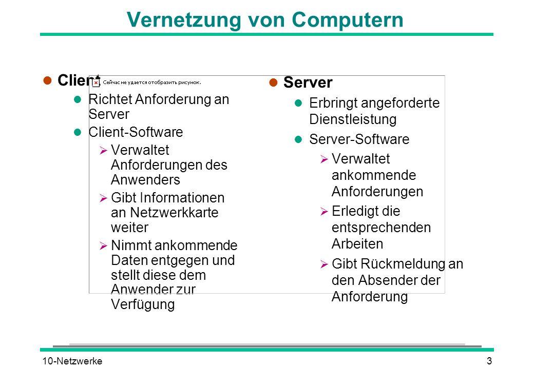 10-Netzwerke3 Vernetzung von Computern l Client l Richtet Anforderung an Server l Client-Software Verwaltet Anforderungen des Anwenders Gibt Informati