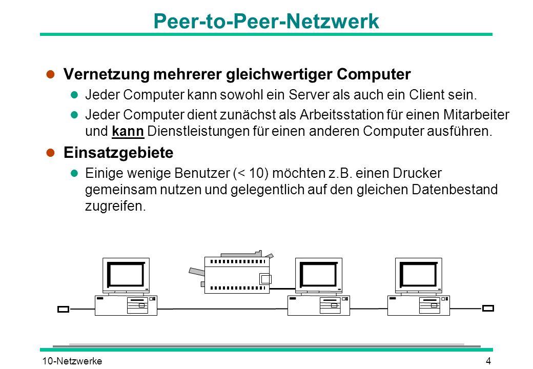 10-Netzwerke4 Peer-to-Peer-Netzwerk l Vernetzung mehrerer gleichwertiger Computer l Jeder Computer kann sowohl ein Server als auch ein Client sein. l