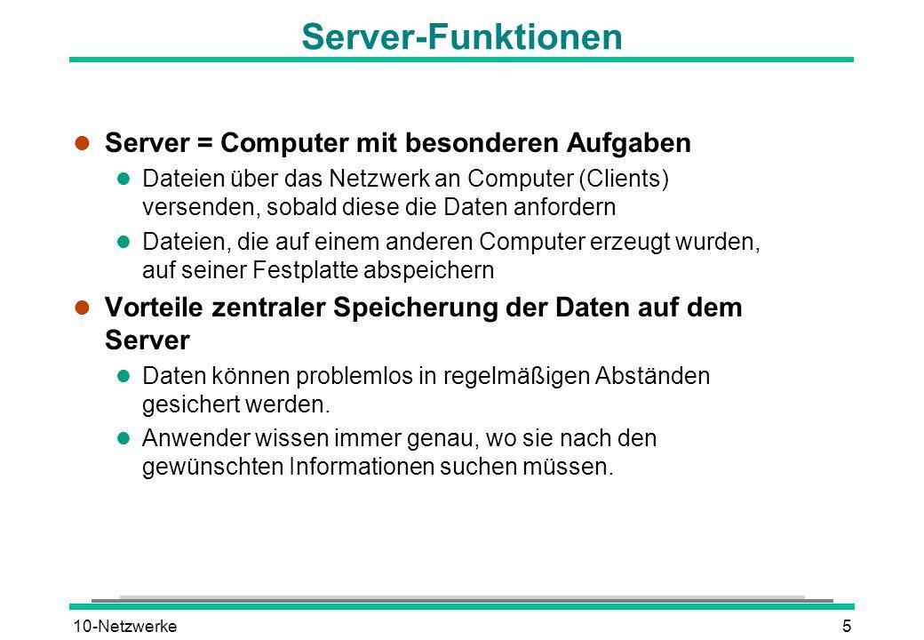 10-Netzwerke5 Server-Funktionen l Server = Computer mit besonderen Aufgaben l Dateien über das Netzwerk an Computer (Clients) versenden, sobald diese