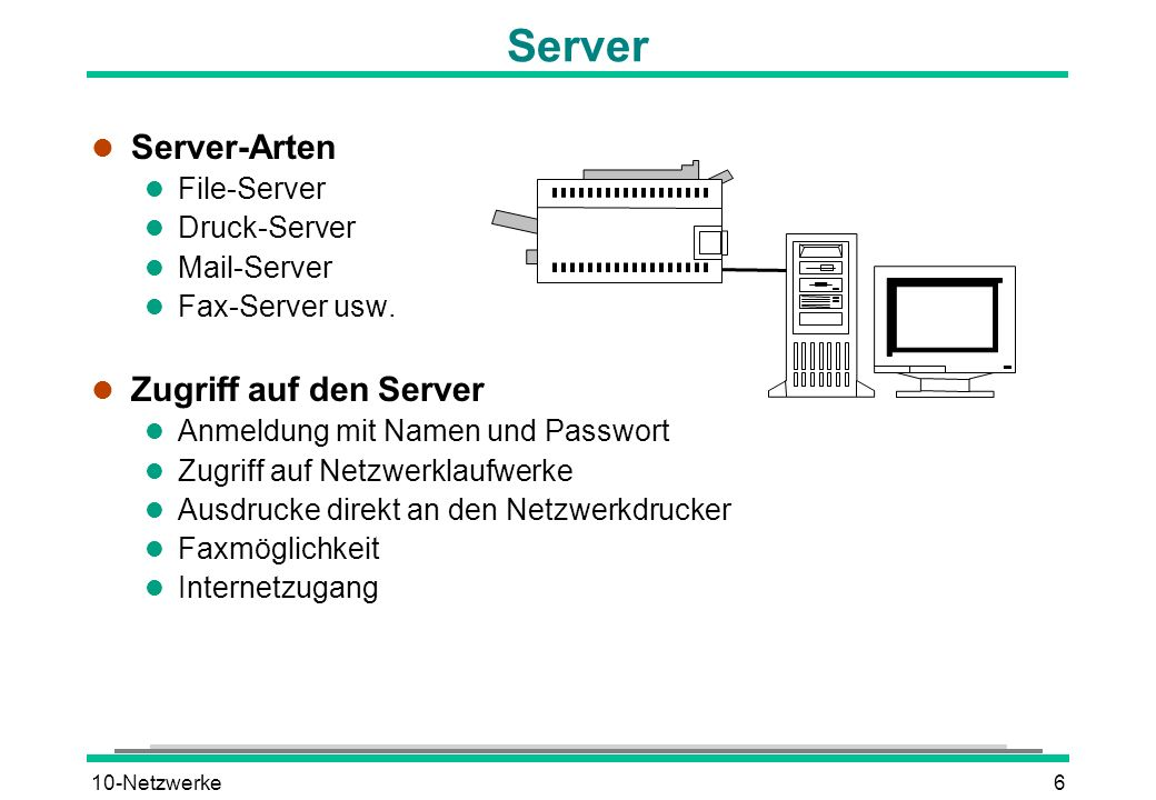 10-Netzwerke6 Server l Server-Arten l File-Server l Druck-Server l Mail-Server l Fax-Server usw.