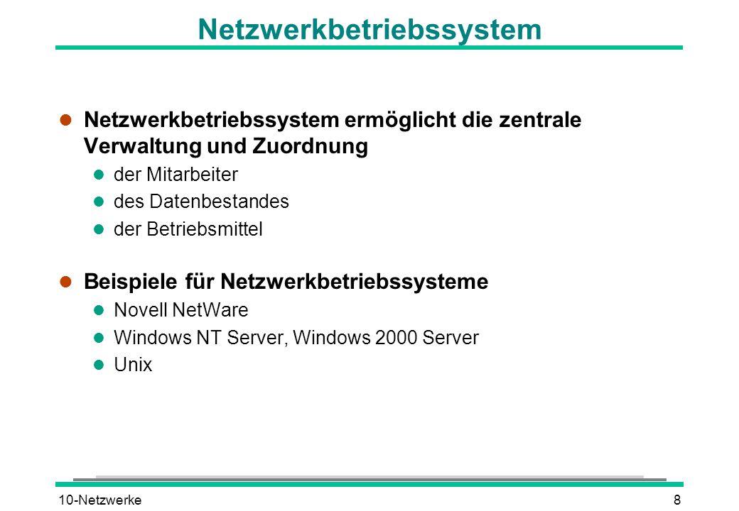 10-Netzwerke8 Netzwerkbetriebssystem l Netzwerkbetriebssystem ermöglicht die zentrale Verwaltung und Zuordnung l der Mitarbeiter l des Datenbestandes