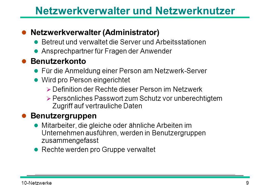 10-Netzwerke9 Netzwerkverwalter und Netzwerknutzer l Netzwerkverwalter (Administrator) l Betreut und verwaltet die Server und Arbeitsstationen l Anspr