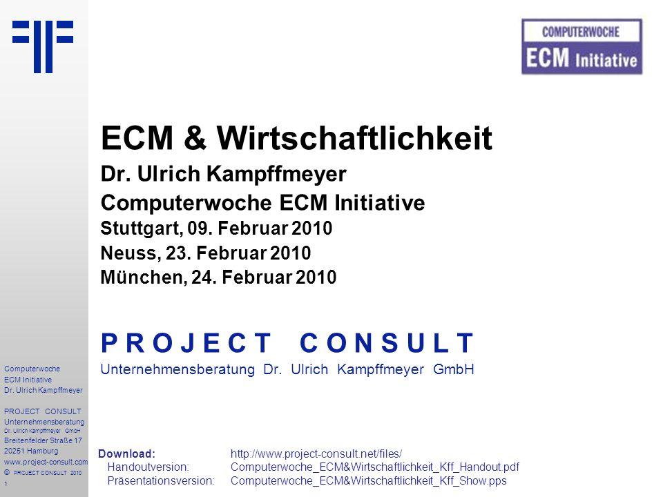 1 Computerwoche ECM Initiative Dr. Ulrich Kampffmeyer PROJECT CONSULT Unternehmensberatung Dr.
