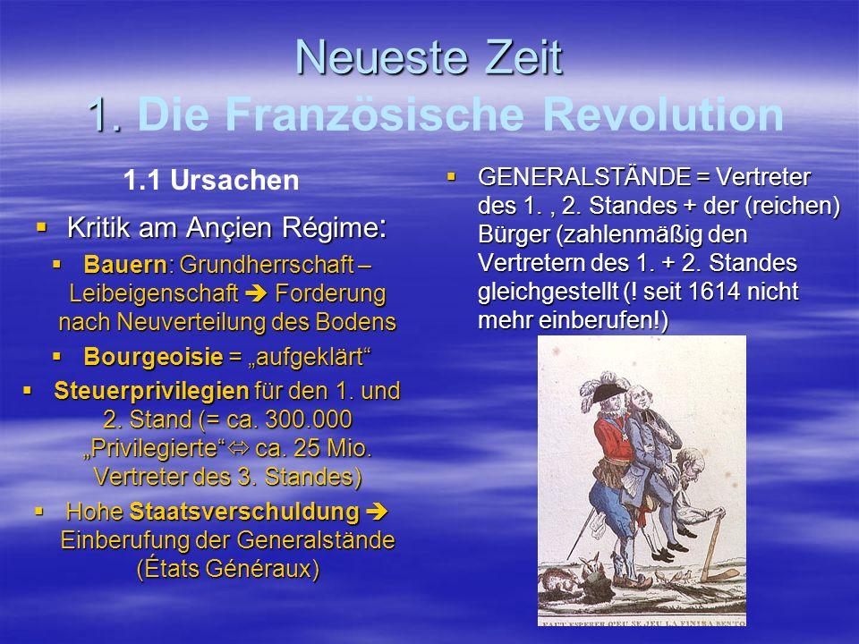 Neueste Zeit 1. Neueste Zeit 1. Die Französische Revolution 1.1 Ursachen Kritik am Ançien Régime : Kritik am Ançien Régime : Bauern: Grundherrschaft –