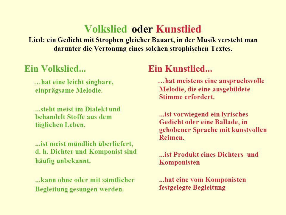 Lieder der Vergangenheit Lieder der Zeit Das Volkslied Das Kunstlied Das Chanson Lieder der deutschen Liedermacher Schweizer Dialektlieder