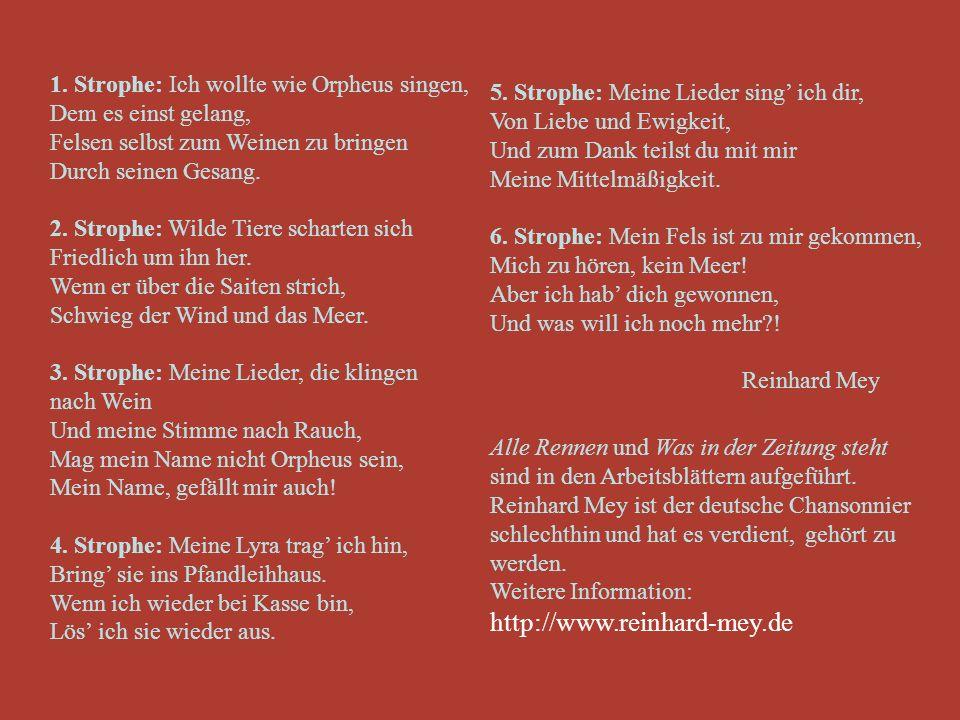 Die deutschen Liedermacher Reinhard Mey hat über 300 Lieder komponiert, getextet und selber vorgetragen. 1942 in Berlin geboren, er absolvierte das Fr