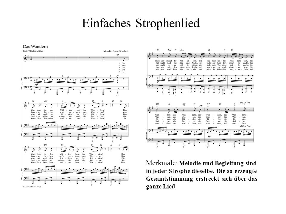 Liedformen Wir hören 3 Lieder von Franz Schubert an: ein einfaches Strophenlied (Das Wandern) ein variiertes Strophenlied (Die Forelle) ein durchkompo