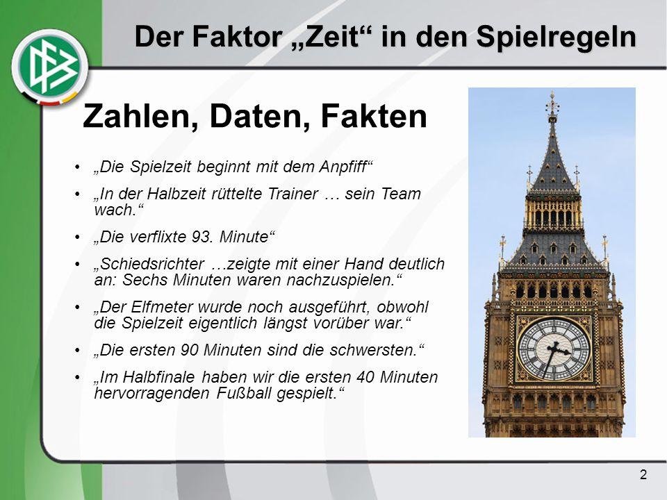 2 Der Faktor Zeit in den Spielregeln Zahlen, Daten, Fakten Die Spielzeit beginnt mit dem Anpfiff In der Halbzeit rüttelte Trainer … sein Team wach. Di
