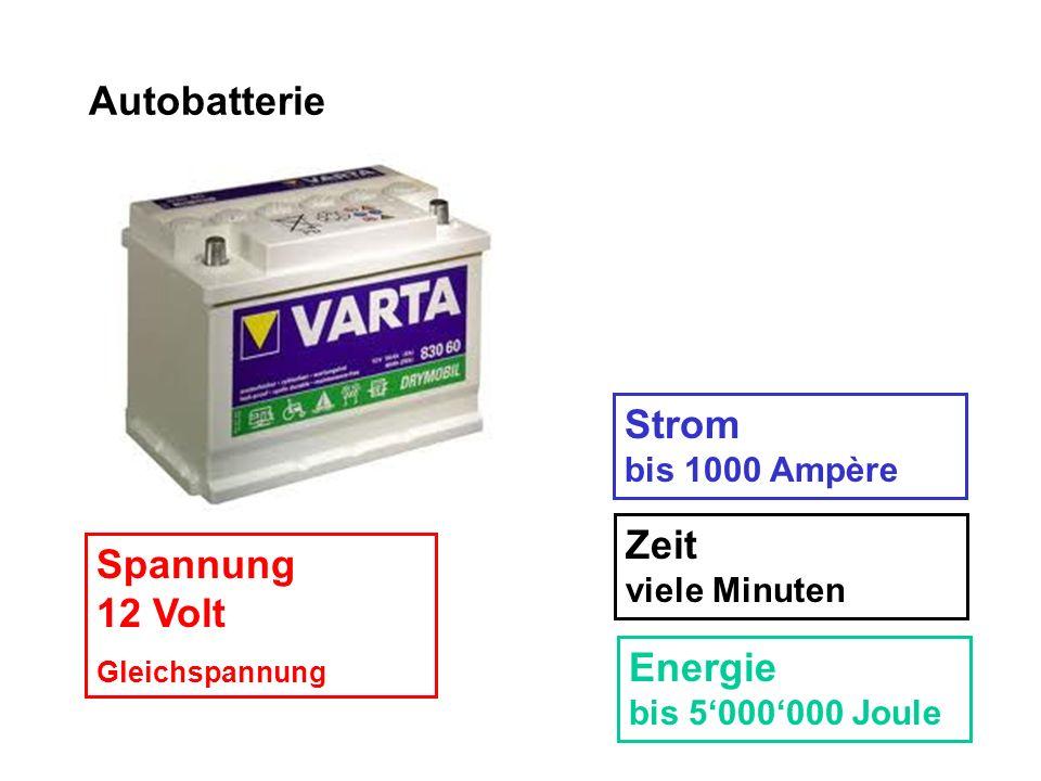 Autobatterie Spannung 12 Volt Gleichspannung Strom bis 1000 Ampère Zeit viele Minuten Energie bis 5000000 Joule