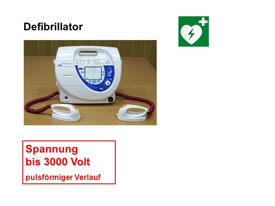 Defibrillator Spannung bis 3000 Volt pulsförmiger Verlauf