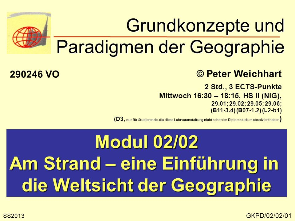 Grundkonzepte und Paradigmen der Geographie GKPD/02/02/01 © Peter Weichhart Modul 02/02 Am Strand – eine Einführung in die Weltsicht der Geographie SS