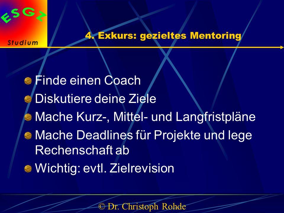 4. Exkurs: gezieltes Mentoring Finde einen Coach Diskutiere deine Ziele Mache Kurz-, Mittel- und Langfristpläne Mache Deadlines für Projekte und lege