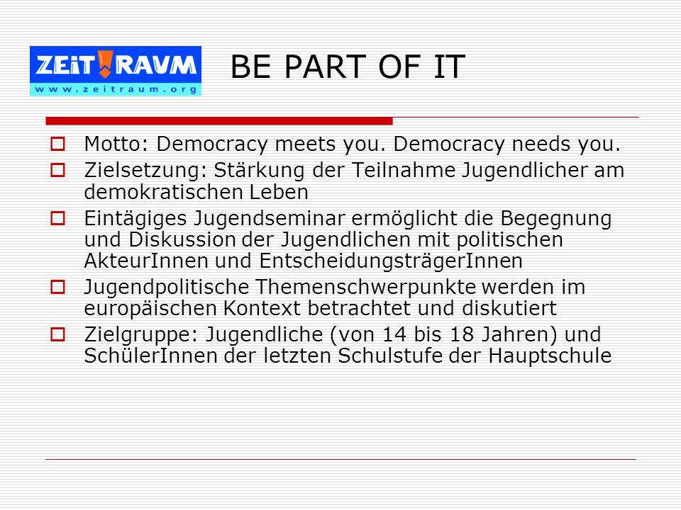Motto: Democracy meets you. Democracy needs you. Zielsetzung: Stärkung der Teilnahme Jugendlicher am demokratischen Leben Eintägiges Jugendseminar erm